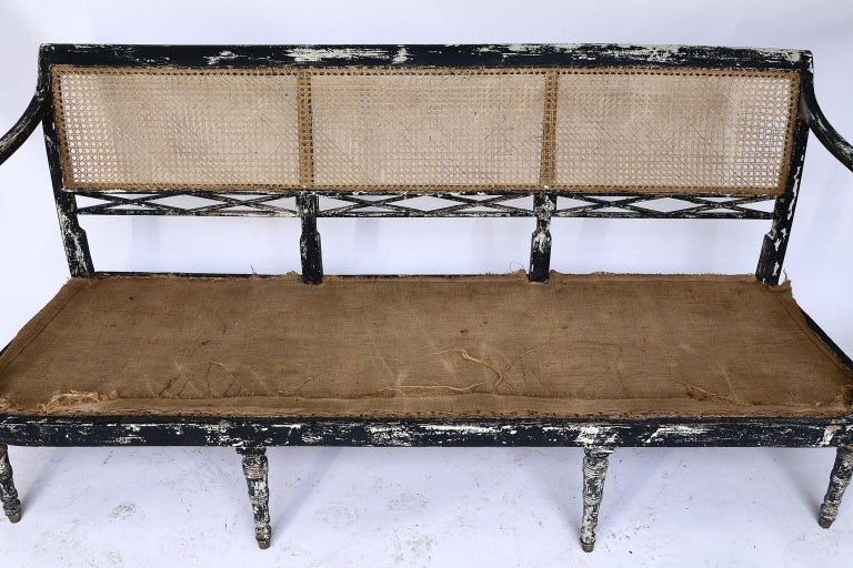 Fabric Swedish Cane Back Settee For Sale