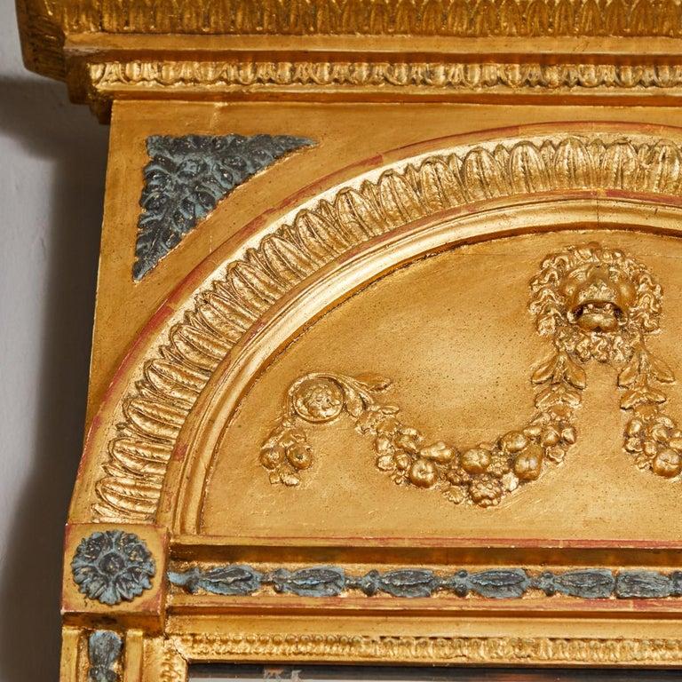 19th Century Swedish Carved Gilt Lion Mirror, circa 1800 For Sale