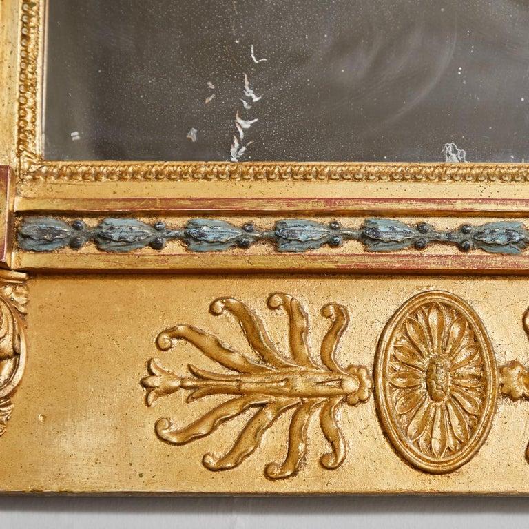 Giltwood Swedish Carved Gilt Lion Mirror, circa 1800 For Sale