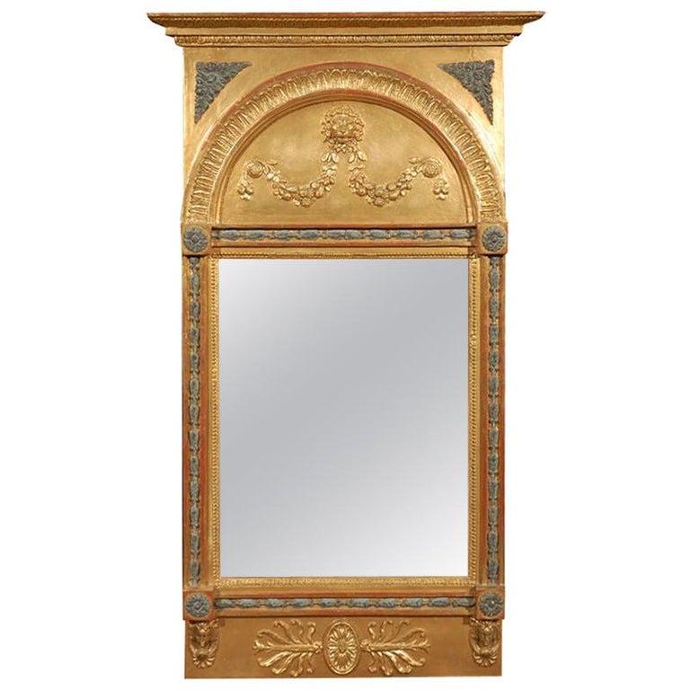 Swedish Carved Gilt Lion Mirror, circa 1800 For Sale