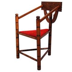 Swedish Carved Oak Monk Chair