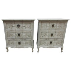 Swedish Carved Rococo Style Nightstands