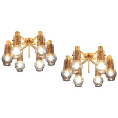 Swedish Ceiling Lamps in Brass with Smoked Glass Shades