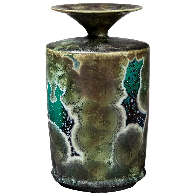 Swedish Ceramic Vase by Isak Isaksson, Narrow Necked and Unique Stoneware