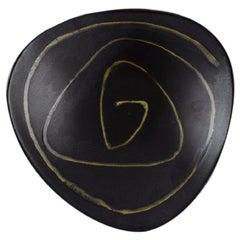 Swedish Ceramicist, Bowl in Black Glazed Ceramics with Abstract Motif