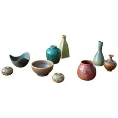 Swedish Ceramicists, Collection of Small Vases, Stoneware, Sweden, 1950s-1960s