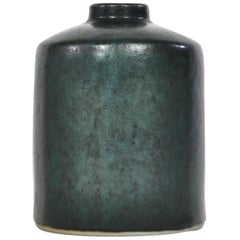 Swedish Ceramics Dark Green Vase by Carl-Harry Staalhane for Rörstrand, 1960s