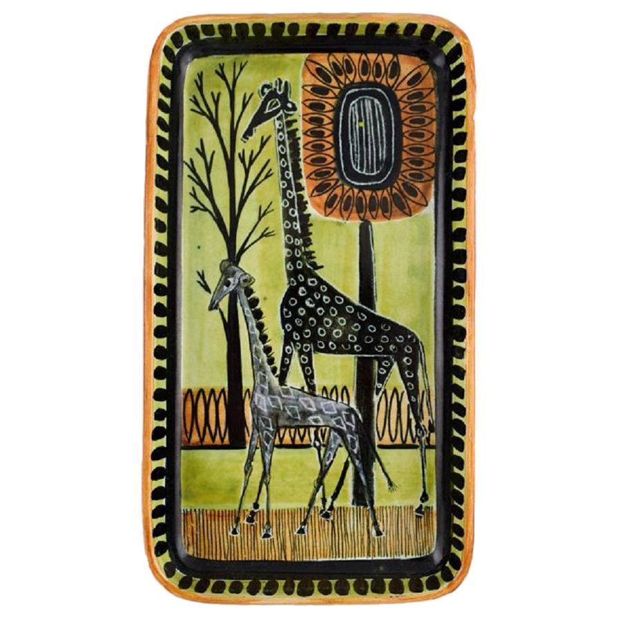 Swedish Ceramist, Unique Dish in Hand-Painted Glazed Ceramics with Giraffes