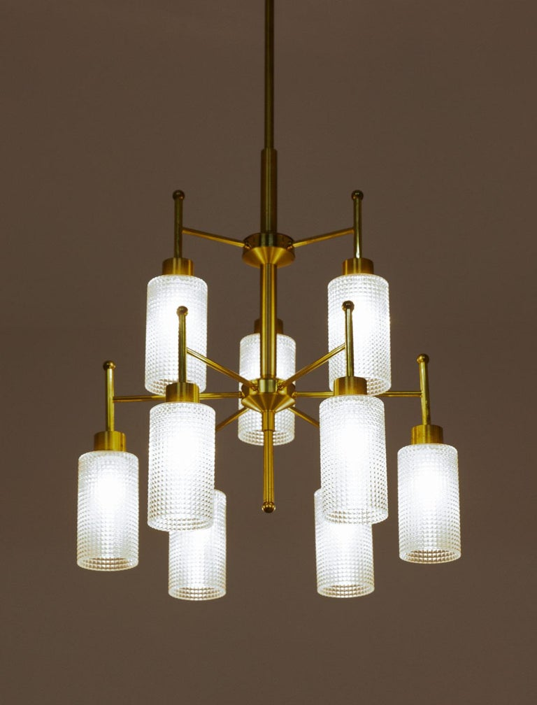 Swedish Chandeliers in Brass and Glass by Holger Johansson For Sale 5