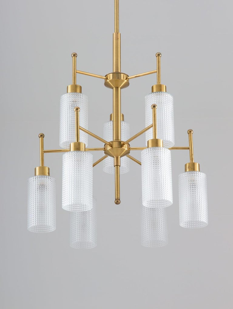 Scandinavian Modern Swedish Chandeliers in Brass and Glass by Holger Johansson For Sale