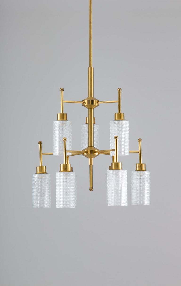 Swedish Chandeliers in Brass and Glass by Holger Johansson In Good Condition For Sale In Karlstad, SE
