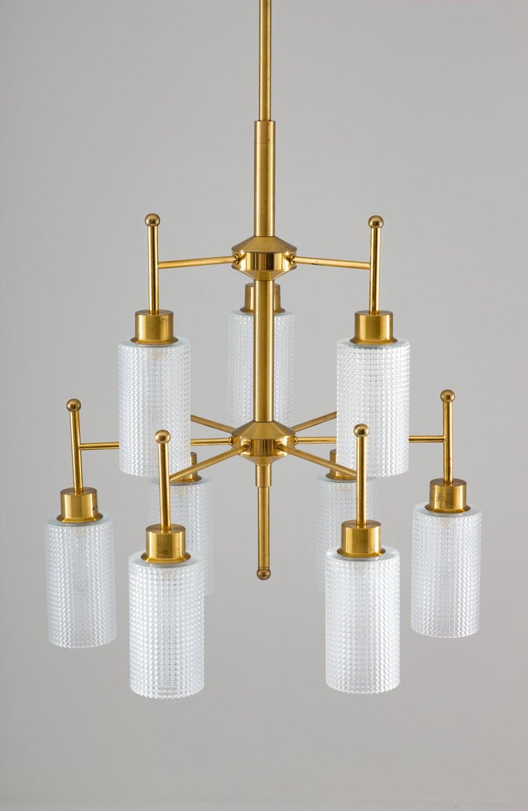 20th Century Swedish Chandeliers in Brass and Glass by Holger Johansson For Sale