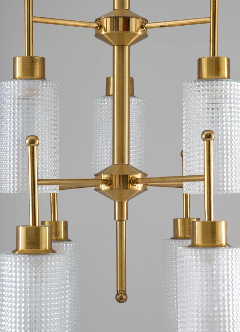 Swedish Chandeliers in Brass and Glass by Holger Johansson For Sale 1