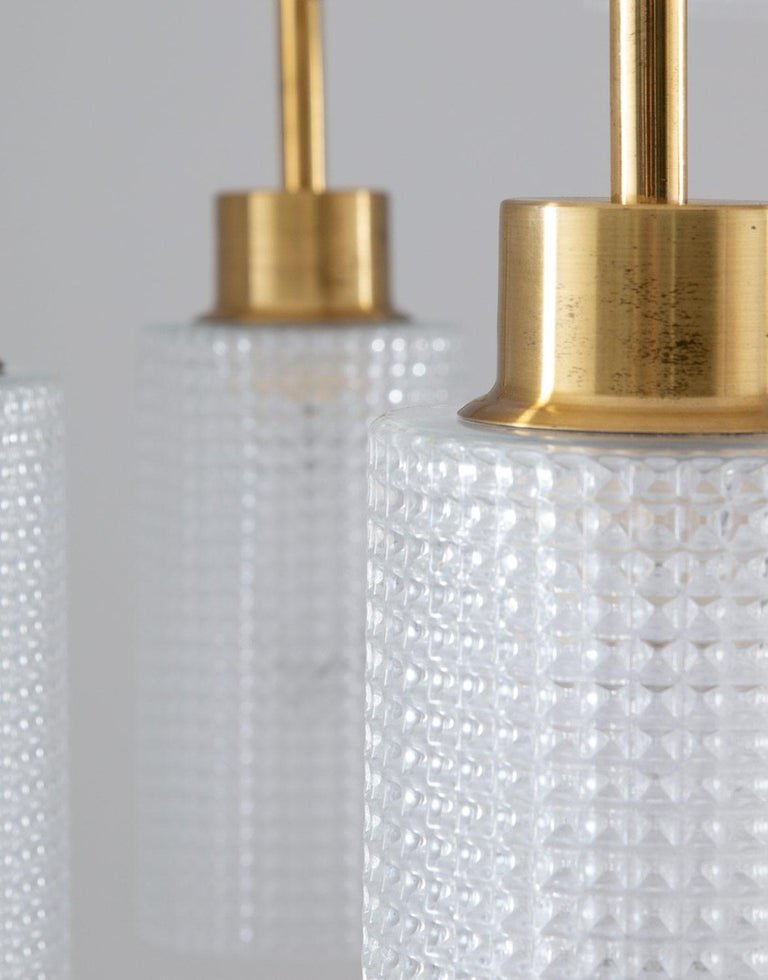 Swedish Chandeliers in Brass and Glass by Holger Johansson For Sale 2