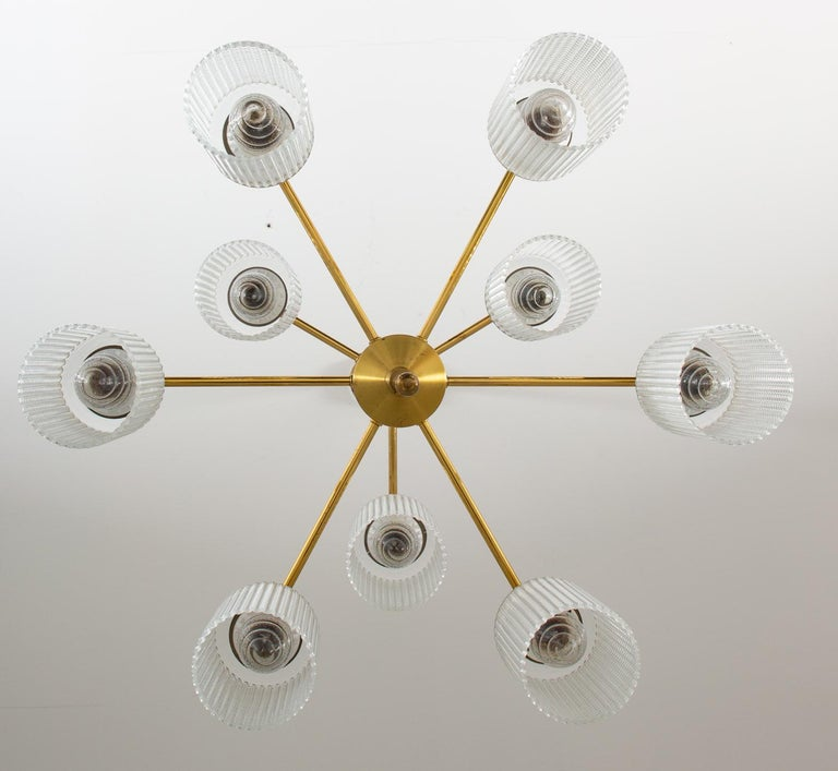 Swedish Chandeliers in Brass and Glass by Holger Johansson For Sale 3