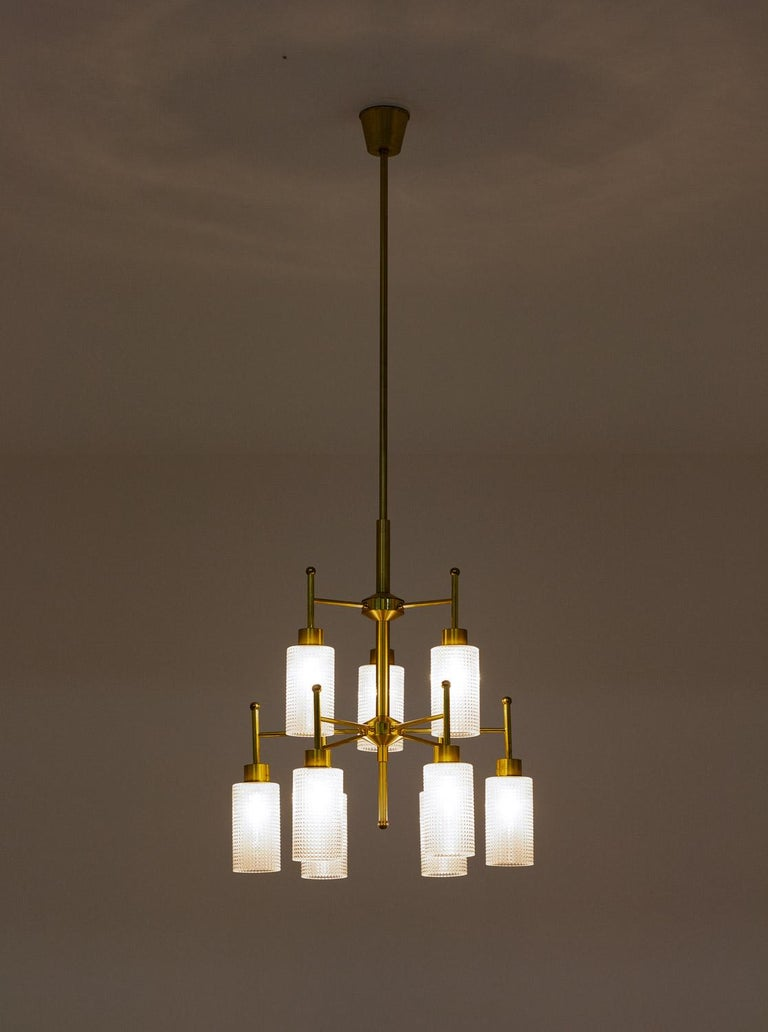 Swedish Chandeliers in Brass and Glass by Holger Johansson For Sale 4
