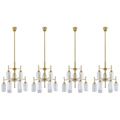 Swedish Chandeliers in Brass and Glass by Holger Johansson
