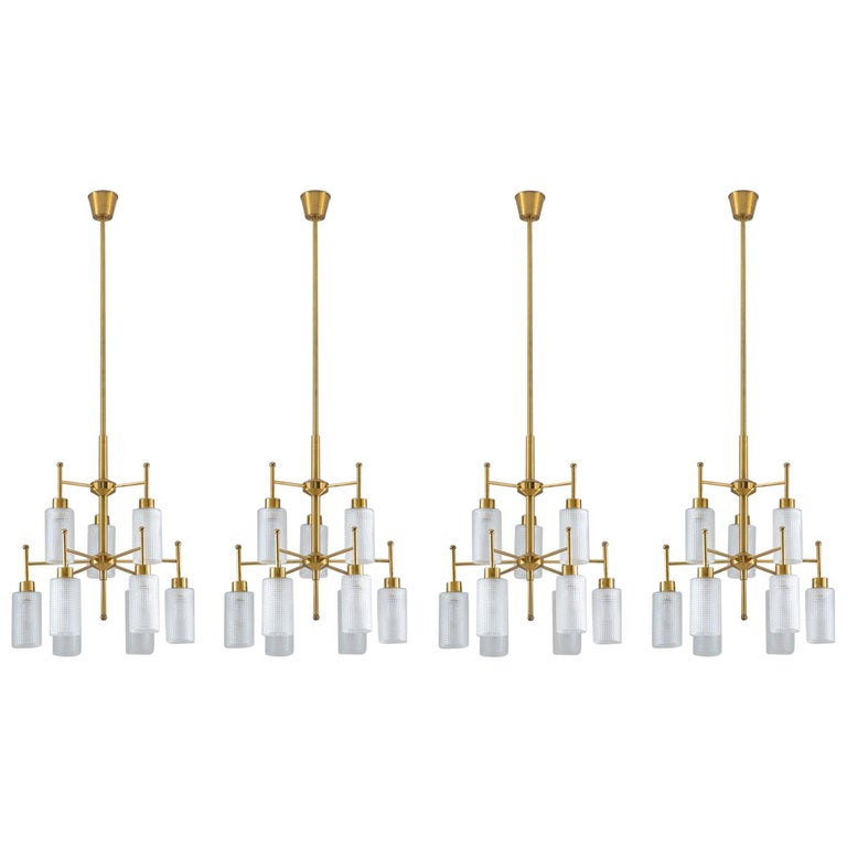 Swedish Chandeliers in Brass and Glass by Holger Johansson For Sale