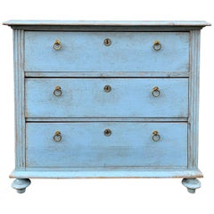 Swedish Chest of Drawers In Light Blue Paint Gustavian Style