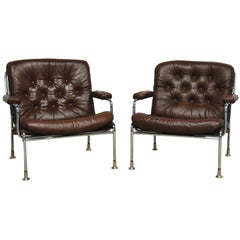 Swedish Chrome and Leather Armchair Attributed to Bruno Mathsson for DUX