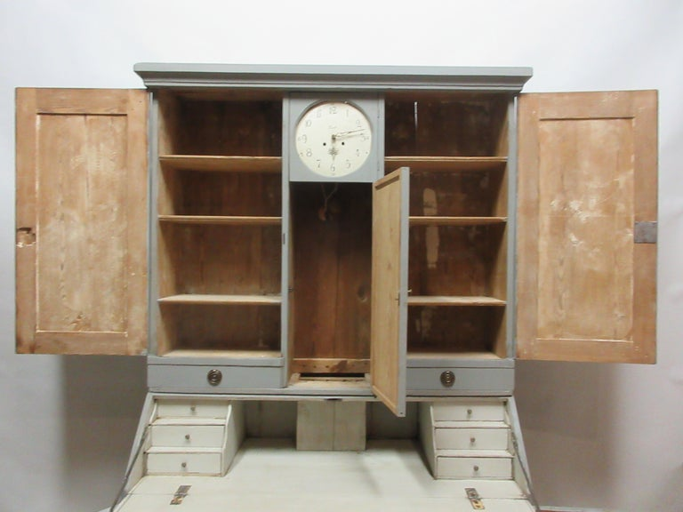 Gustavian Swedish Clock Secretary Hutch For Sale