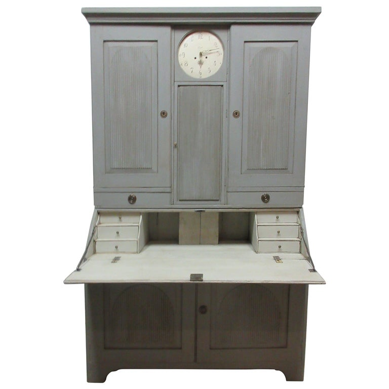 Swedish Clock Secretary Hutch For Sale