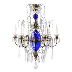 Swedish Cobalt Blue Glass and Crystal Chandelier, circa 1880