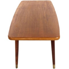 Swedish Coffee Table in Teak and Birch with Brass Capped Legs, 1950s