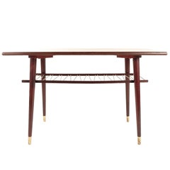 Swedish Coffee Table in Teak and Brass Midcentury