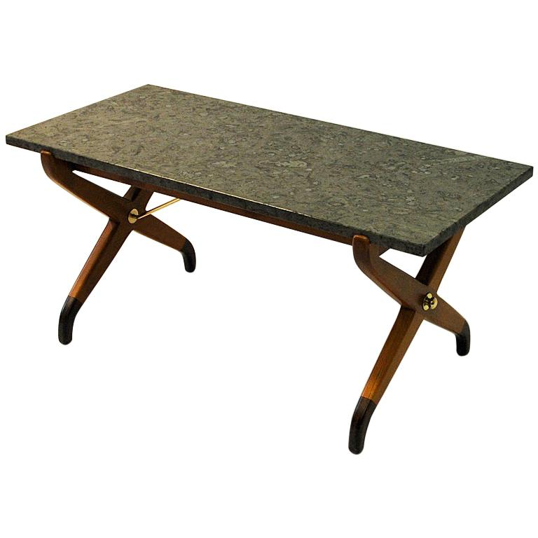 Swedish Vintage beech and stone Coffeetable by David Rosen for NK 1940s