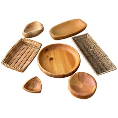 Swedish, Collection of Bowls, Dishes, Trays, Wood, Rope, Rattan, Midcentury