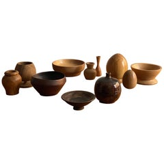 Swedish Craft, Assorted Collection of Bowls, Wood and Ceramics, 20th Century
