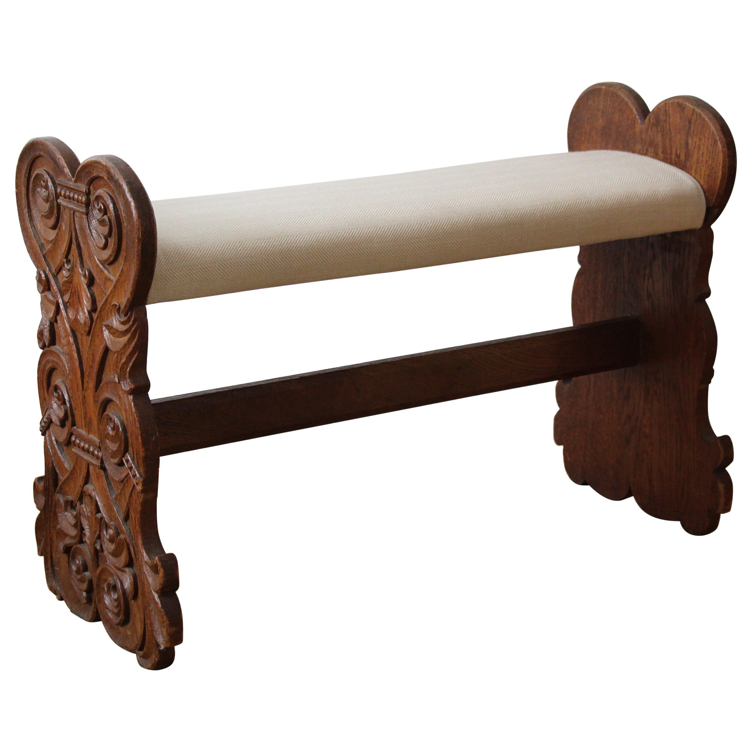 Swedish Craft, Bench, Stained Oak, Fabric, Sweden, Early 20th Century