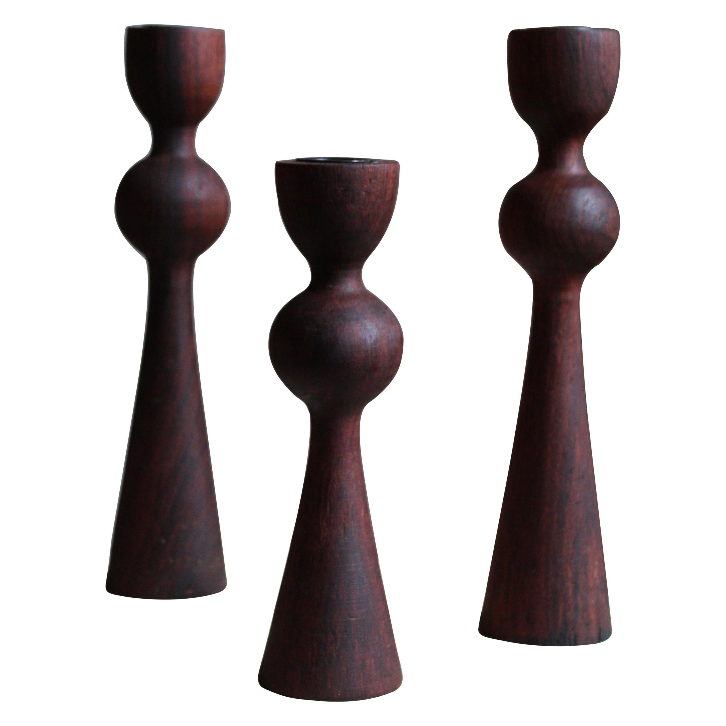 Swedish Craft, Candlesticks, Stained Solid Teak, Lacquered Metal, Sweden, 1970s