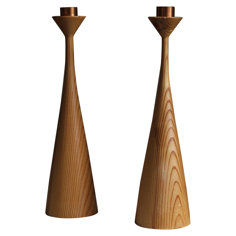 Swedish Craft, Candlesticks, Turned Solid Pine, Copper, Sweden, 1970s