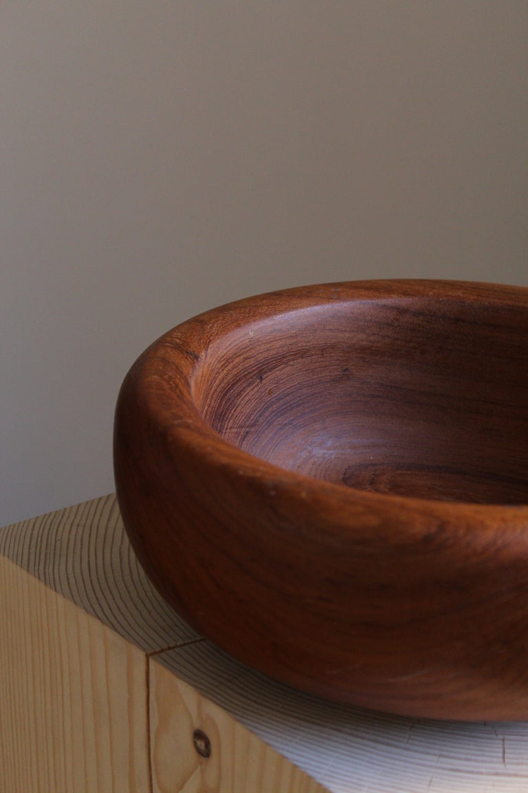 Swedish Craft, Decorative Bowl, Solid Teak, Sweden, 1950s In Good Condition For Sale In West Palm Beach, FL