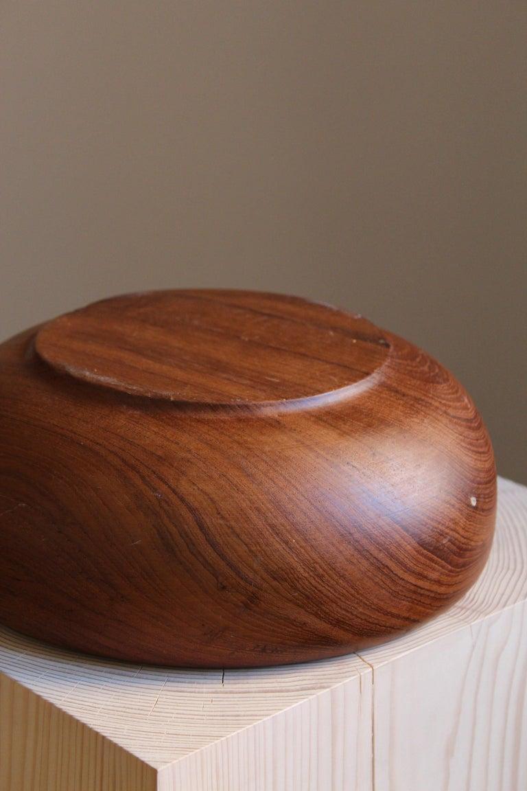 Mid-20th Century Swedish Craft, Decorative Bowl, Solid Teak, Sweden, 1950s For Sale
