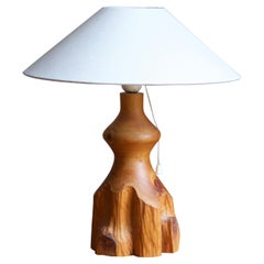 Swedish craft, Free-form Table Lamp, Solid Pine, Fabric, Sweden, 1970s