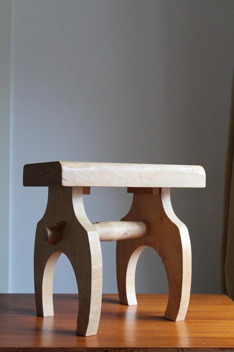 Modern Swedish Craft, Freeform Stool or Side Table, Solid Light Wood, Sweden
