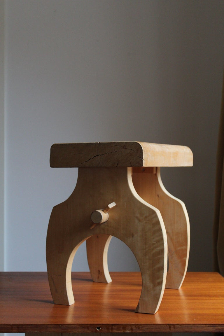 Swedish Craft, Freeform Stool or Side Table, Solid Light Wood, Sweden In Fair Condition In West Palm Beach, FL