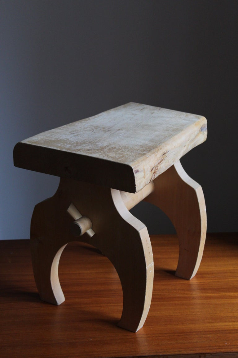 Late 20th Century Swedish Craft, Freeform Stool or Side Table, Solid Light Wood, Sweden
