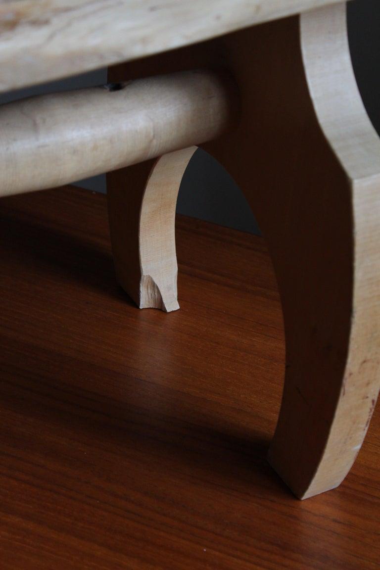 Swedish Craft, Freeform Stool or Side Table, Solid Light Wood, Sweden 1