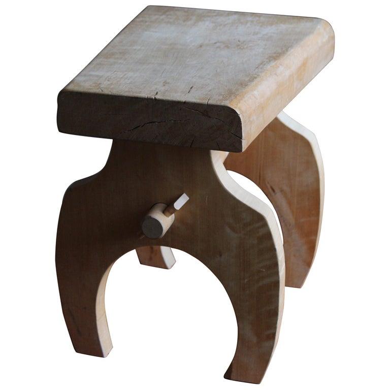 Swedish Craft, Freeform Stool or Side Table, Solid Light Wood, Sweden