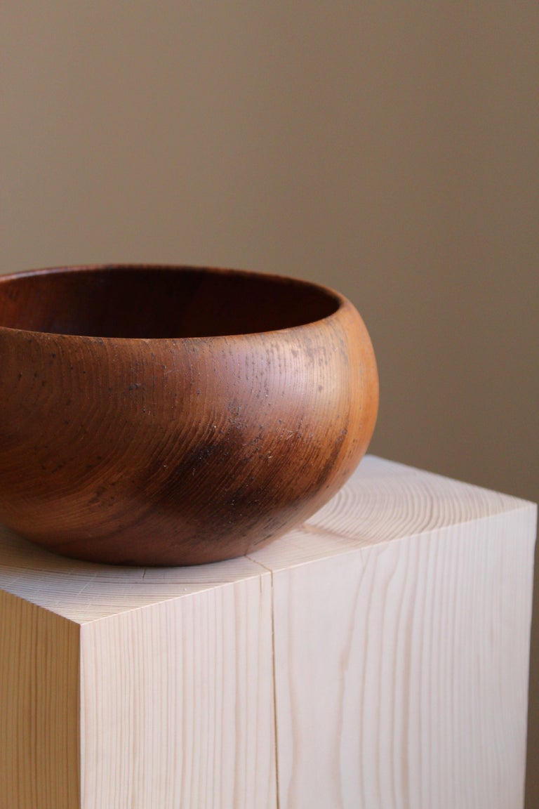 Mid-Century Modern Swedish Craft, Signed Decorative Bowl, Solid Teak, Sweden, 1950s For Sale