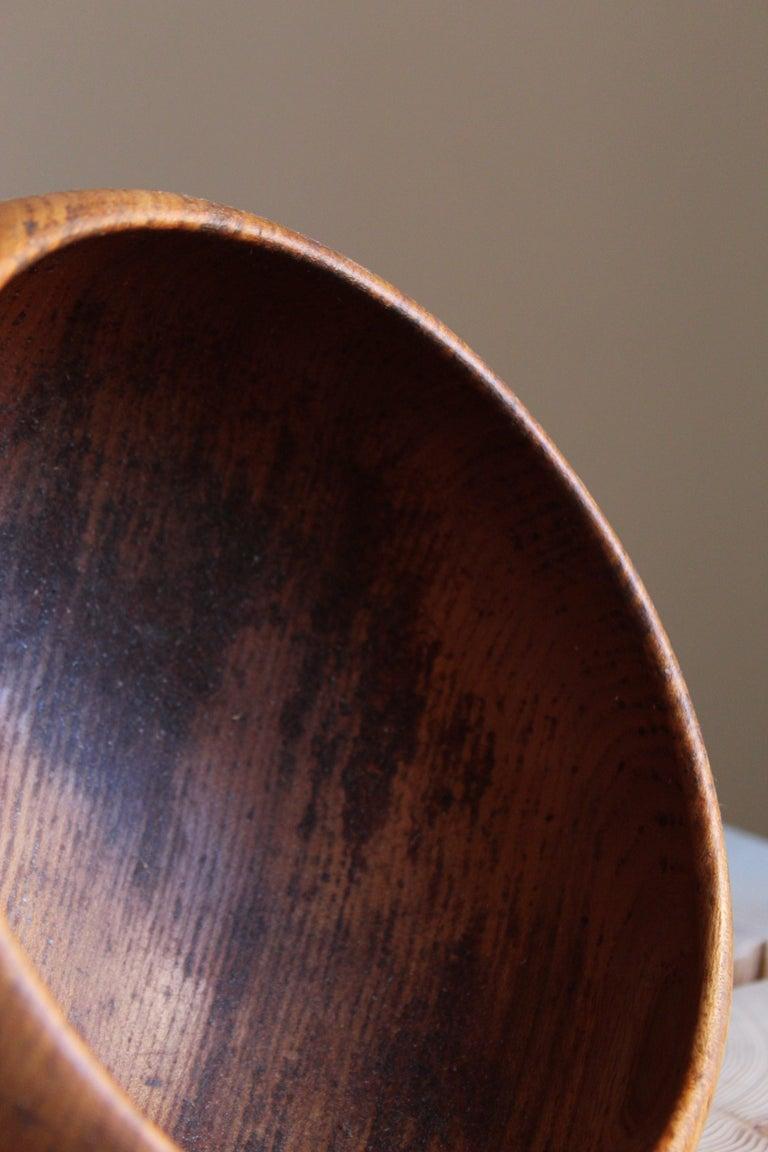 Mid-20th Century Swedish Craft, Signed Decorative Bowl, Solid Teak, Sweden, 1950s For Sale