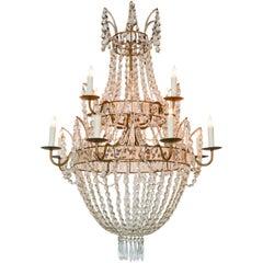 Swedish Crystal Basket Chandelier, circa 1920
