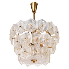 Swedish Crystal and Brass Chandelier, 1960s