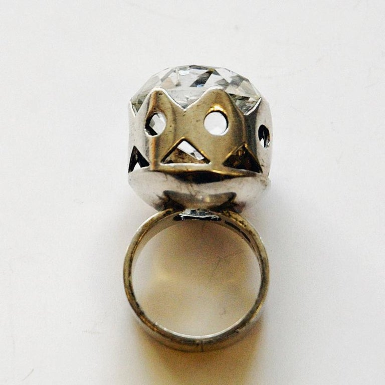 Mid-Century Modern Swedish Crystal Brilliantcut Stone Silver Ring by Kaplan Stockholm, 1967 For Sale
