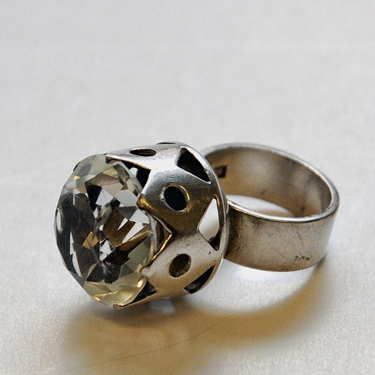 Swedish Crystal Brilliantcut Stone Silver Ring by Kaplan Stockholm, 1967 For Sale 1