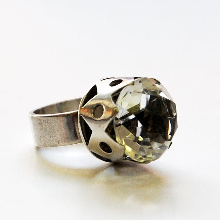 Swedish Crystal Brilliantcut Stone Silver Ring by Kaplan Stockholm, 1967 For Sale 2